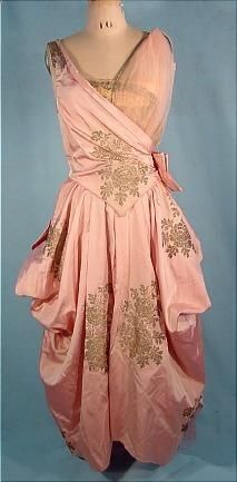 No occasion to wear but love . 1916 Pink Silk L.P. HOLLANDER  CO. New York Evening Gown with Gold Metallic Printed Design
