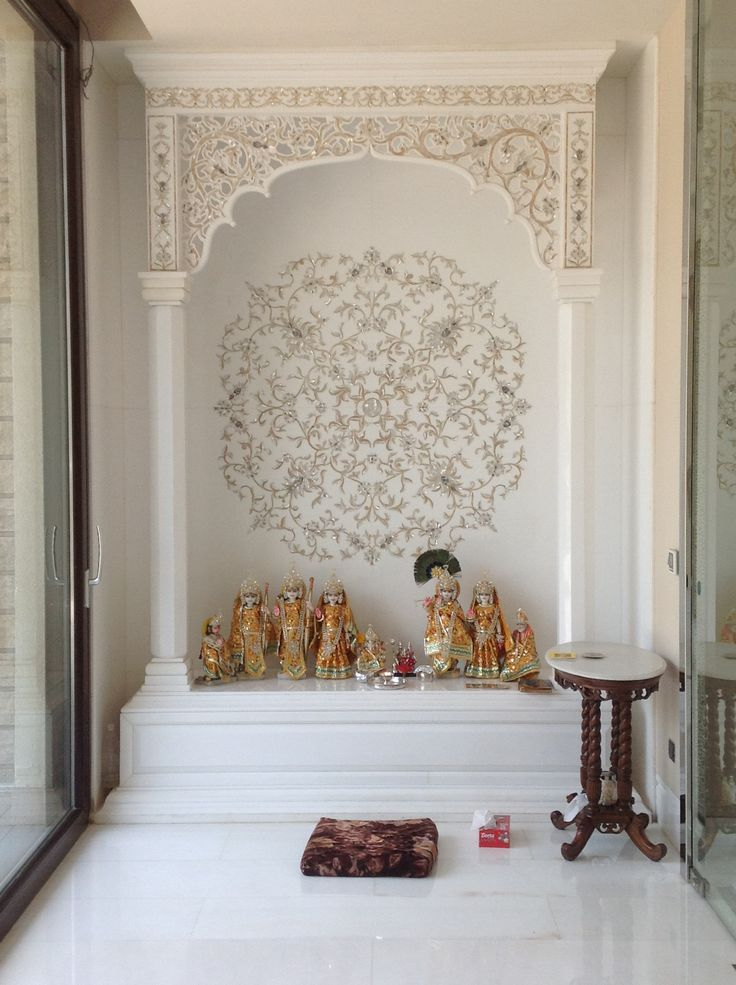 26 best pooja room images on pinterest pooja rooms prayer room and mandir design for Marble temple designs for home