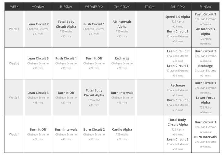 chalean extreme deluxe workout calendar pdf
