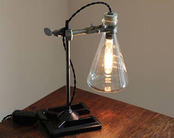 Ciencia Industrial lámpara steampunk iluminación laboratorio Química Farmacia biología fresco regalo del escritorio Edison bombilla matraz Erlenmeyer de vidrio