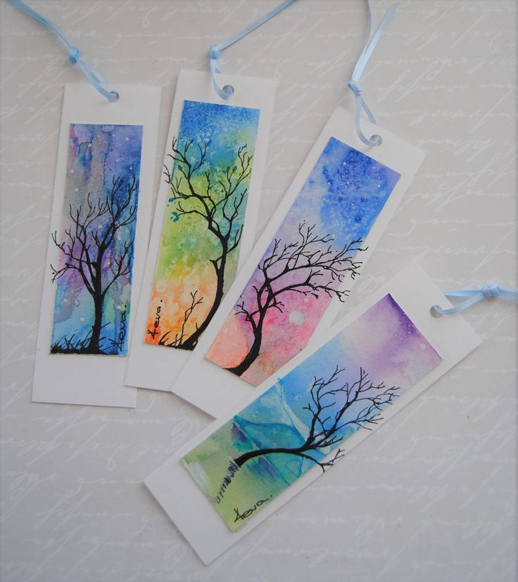 Watercolor bookmark, set of 4, abstract painting, tree and sky, hand-painted bookmark, book