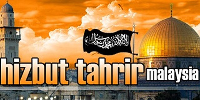 Graphic used to promote Hizb-ut Tahrir Malaysia, showing the black banner of jihad flying over the shrine of the Dome of the Rock in Jerusalem.