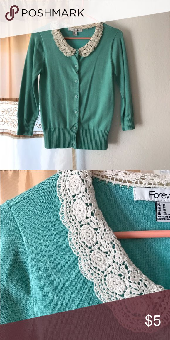 Mint cardigan sweater Mint cardigan with Peter Pan crochet color! It's a medium but if buttoned up, fits like a small.Price is firm because of the low cost, bundle up today with 2 or more items for 10% off! Pay only shipping once!!! Forever 21 Sweaters Cardigans