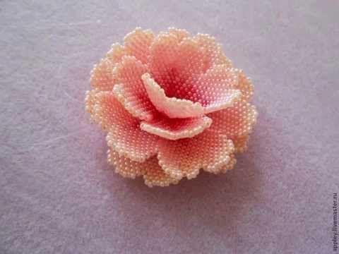 Брошь цветок из бисера с риволи - YouTube