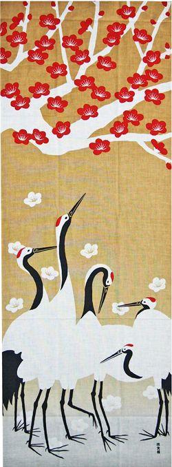 鎌倉香紙堂 / 濱文様の絵てぬぐい 梅見る鶴
