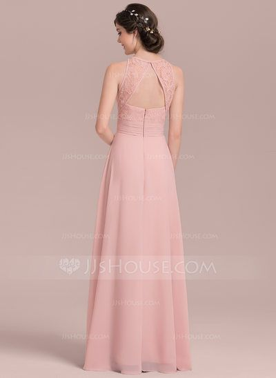 1d0b0b41d76750 A-Line/Princess Scoop Neck Floor-Length Chiffon Lace Bridesmaid Dress With  Ruffle Split Front (007126443) - JJsHouse