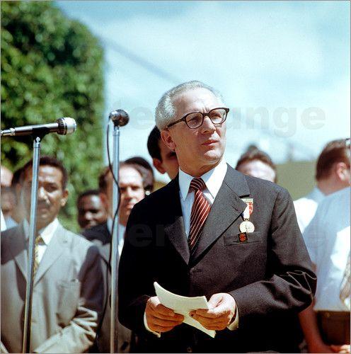 Poster Staatsbesuch Erich Honecker 1974 in Kuba / Cuba - Rede
