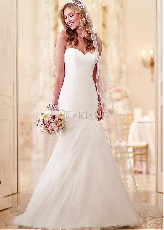 Mairmaid Sweep Zug Tüll Herz Ausschnitt Brautkleid - Bild 1