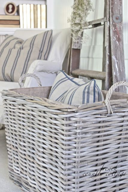 Vintage French Soul  ~    FRENCH COUNTRY COTTAGE: Chunky Baskets & French Stripe Pillows