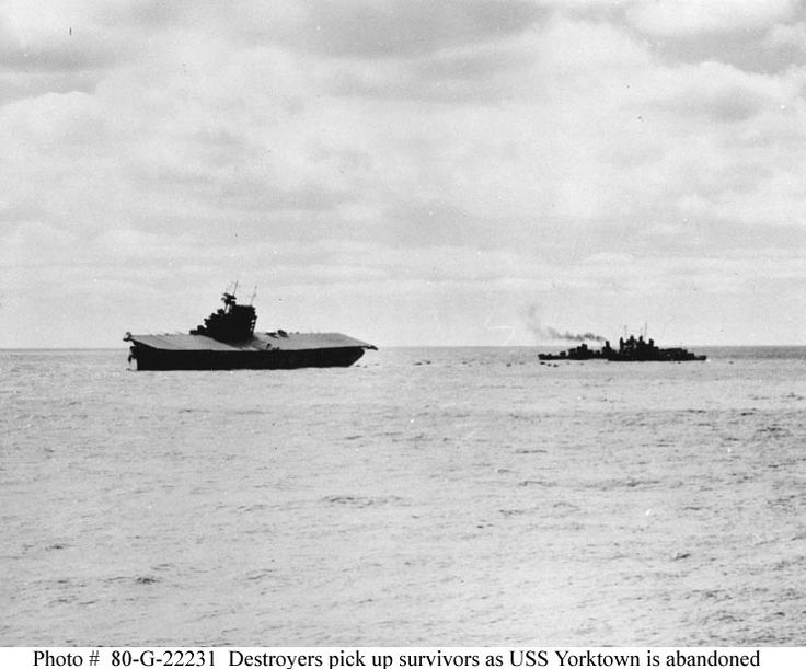 USS Yorktown (CV-5) is abandoned after receiving damage from two Japanese aerial torpedoes, 4 June 1942.