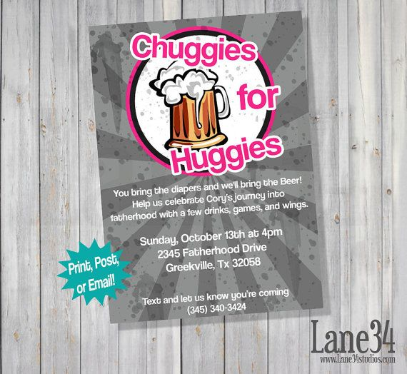 SALE Pink Chuggies For Huggies Dad Baby Shower by Lane34Party, $5.00