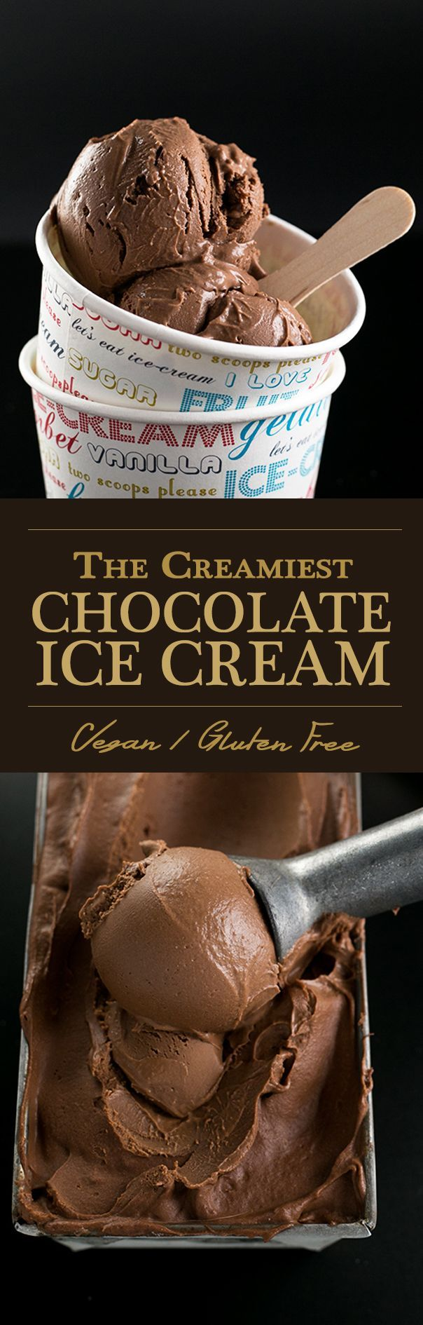 The Creamiest Vegan Chocolate Ice Cream - homemade, ultra creamy and scoopable chocolate ice cream made with cashews and coconut milk. Vegan and Gluten Free.