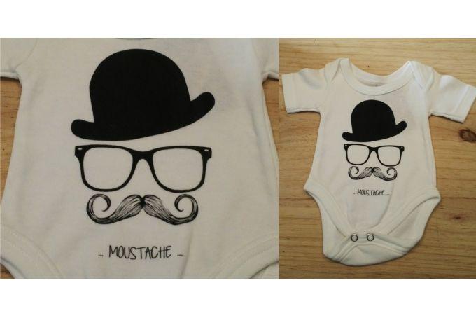 Moustache Onesie by Fox & Heroine on hellopretty.co.za