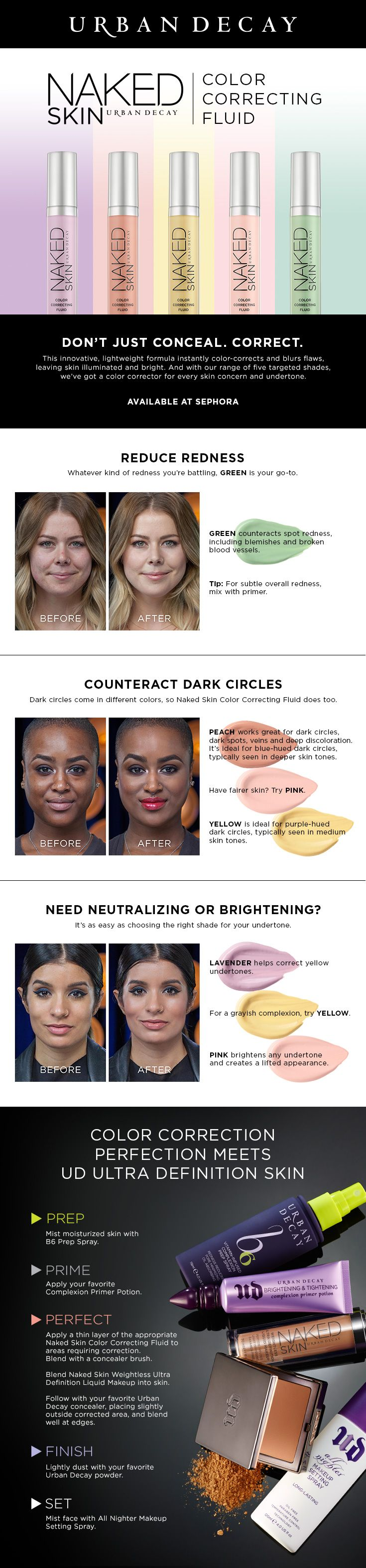Makeup beauty and more jane cosmetics multi colored color correcting - Urban Decay Naked Skin Color Correcting Fluid Correct Imperfections And Play Up Your Best Features