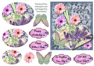 A great 5 x 6 card to send for many reasons has a fan,  daisies and butterfly, has 4 labels Happy Birthday, Happy mothers day, To brighten your day, and get well real soon. Has an extra daisy you can put any where or on the top of the pyramid and let it over lap.