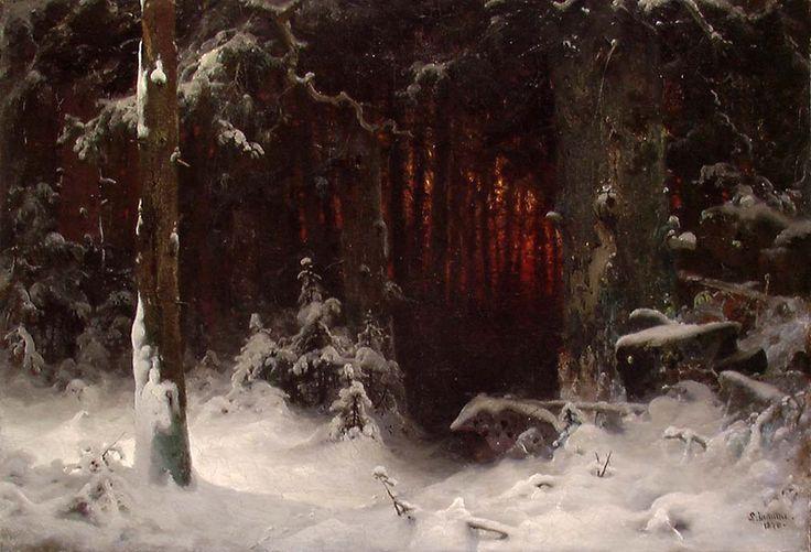 Живопись маслом. Ludwig Munthe (1841-1896), Intérieur de Forêt - 1870