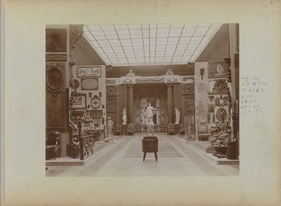 """A photograph from about 1906 of the interior of Hoentschel's private museum at 58 Boulevard Flandrin, Paris, depicts the installation of his Seventeenth and Eighteenth Century collection. """"Salvaging the Past"""" is arranged based on the photograph. The Metropolitan Museum of Art, the Thomas J. Watson Library, presented by J. Pierpont Morgan."""