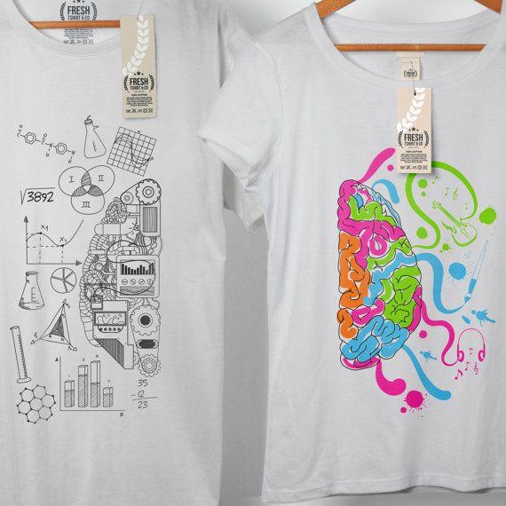Left Brain Right Brain Couple Tshirt Couples by FreshTshirtCo