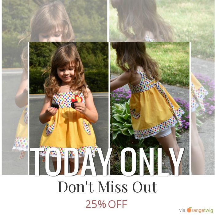 Today Only! 25% OFF this item.  Follow us on Pinterest to be the first to see our exciting Daily Deals. Today's Product: Daily Deal Sale - 25% off Twirl Vintage Style Sun Dress Pattern - The Natalie- Age 2-6, Video instructions, Toddler Dress Pattern, easy sew, Buy now: https://www.etsy.com/listing/206522403?utm_source=Pinterest&utm_medium=Orangetwig_Marketing&utm_..
