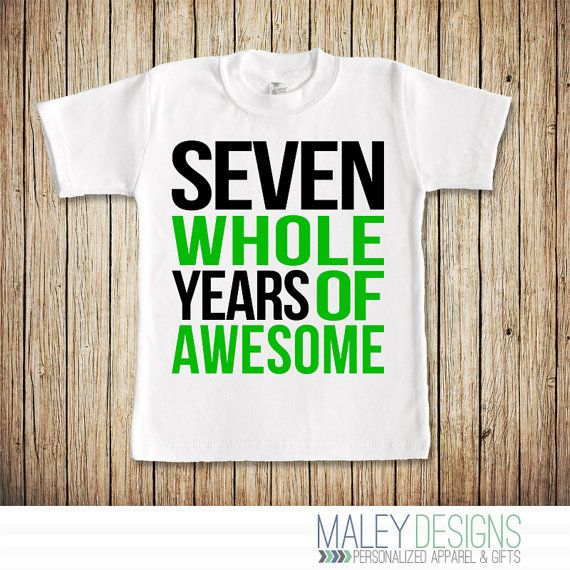 Seventh Birthday Shirt Boy 7th 7 Year Old Seven Gift Whole Years Of Awesome