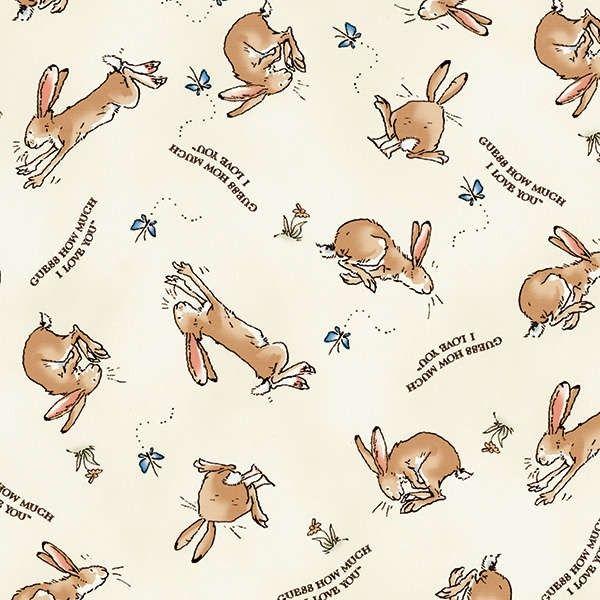 Clothworks - Cream Rabbits Flannel - cotton fabric