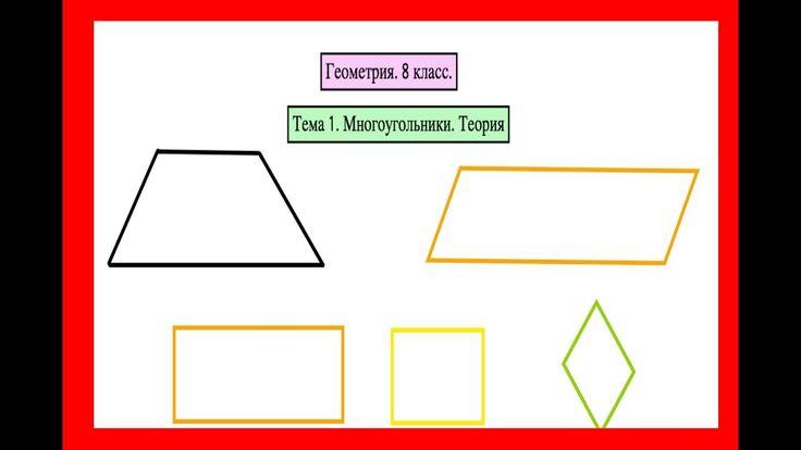 Геометрия. 8 класс. Тема 1: Многоугольники. Теория