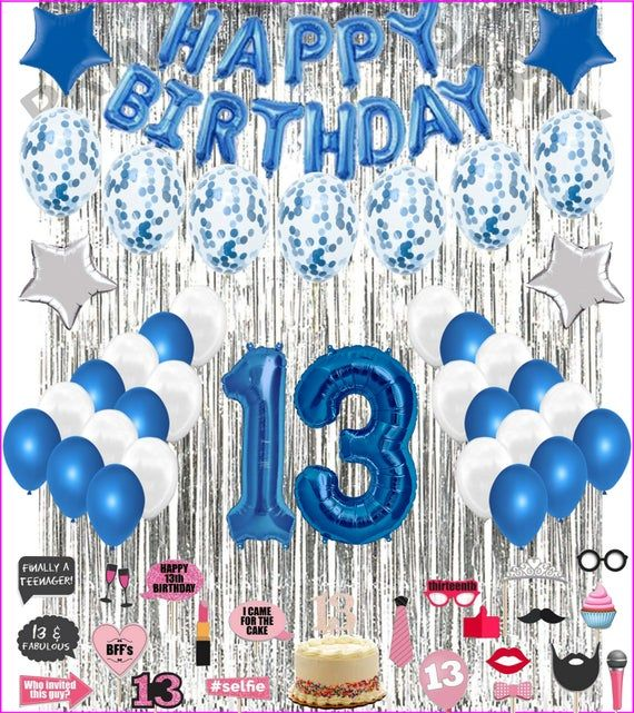 13th Birthday Decorations Party Balloons Blue White For Girls Etsy In 2021 18th Birthday Decorations Birthday Decorations Girl Birthday Decorations