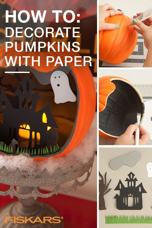 Check out this easy-to-do pumpkin-carving alternative that will have your pumpkin the center of attention this Halloween season! All you have to do is carve out the front, line the inside with black paper and use your imagination to cut out whatever shapes and images you want! Use tools from Fiskars to make it even easier. Go to Fiskars.com to check them out and to get more spooky seasonal ideas.