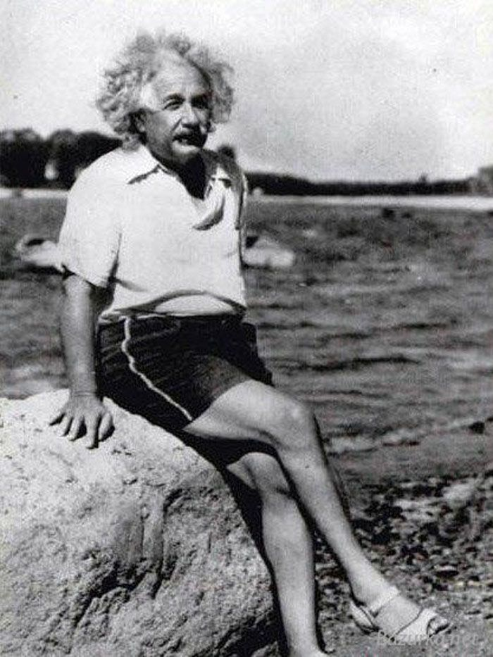 Albert Einstein looking sassy in sandals, 1939