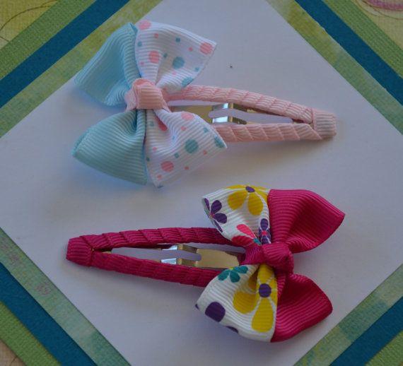 Pink girl hair clips - toddler hair clips - girl snap clips - hair accessories - hair bows - snap clips