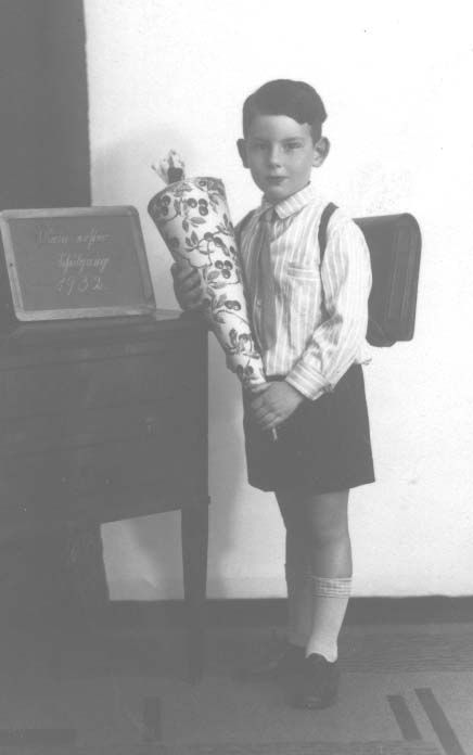 Herbert Kohn on his first day of school in Frankfurt am-Main, 1932. Herbert and his immediate family later escaped Nazi Germany through way of England.