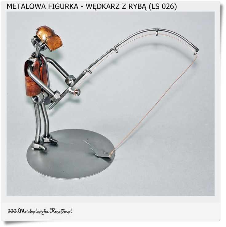 Figurka - Metalowa rzeźba. Wędkarz łowi ryby