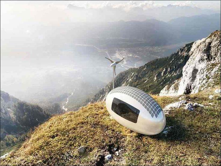 Крошечные хижины Ecocapsules с ветряком