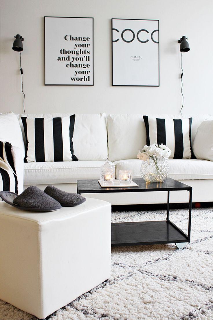 Mustavalkoinen olohuone black and white livinroom Ellos tanger carpet Desenio posters Ikea home