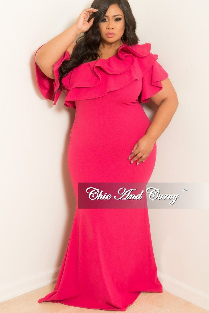 d5506432cdcfd Final Sale Plus Size One Sided Off the Shoulder Ruffle Dress in Hot Pink in  2019