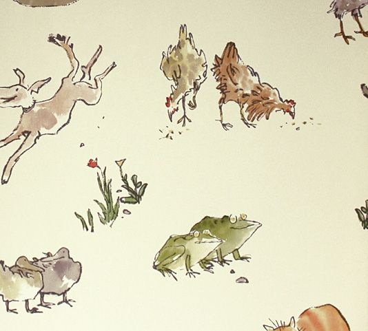 Quentin's Menagerie Wallpaper Wonderful Quentin Blake designed wallpaper of farmyard animals on a light cream background