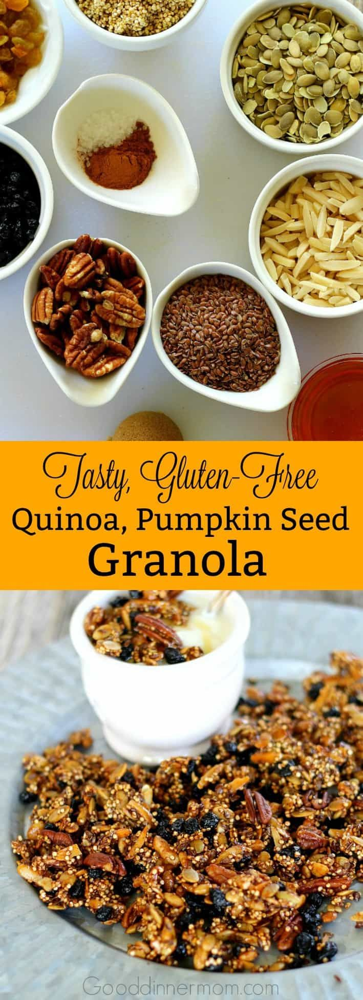 Gluten-free Quinoa and Pumpkin Seed Granola is quick, easy and delicious with nuts, flax, pumpkin and quinoa seeds, dried fruit and a light honey glaze.