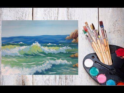 Видео урок Морские волны гуашью! Рисуем с Dari Art! - YouTube