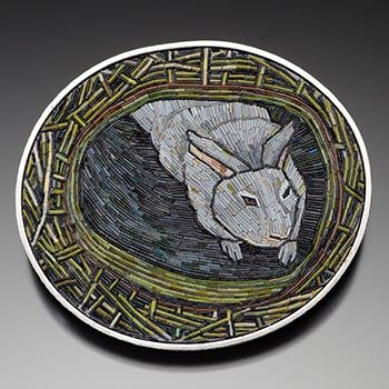 """Cynthia Toops: Brooch in polymer clay mosaic, set in sterling silver. Metalwork by Chuck Domitrovich. Approx 2 1/4 x 2""""."""