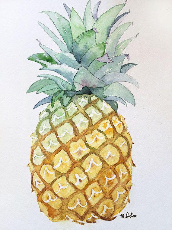 Piña acuarela verde amarillo