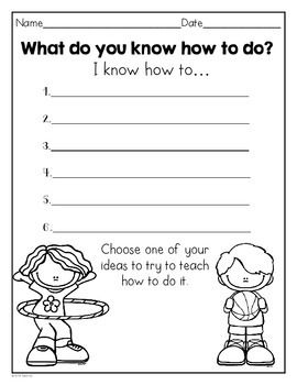 Brainstorming page~WRITERS' WORKSHOP: HOW-TO BOOK TEMPLATE FOR 1ST AND 2ND GRADE - TeachersPayTeachers.com