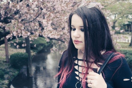 gothic look and hanami cherry blossom