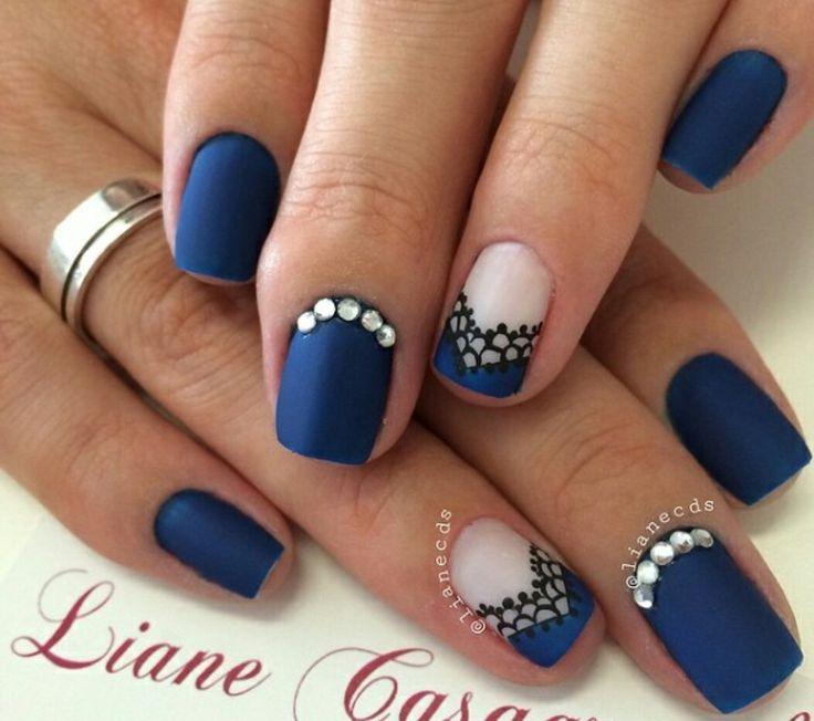 Ongles bleu nuit mat - Ongle bleu marine ...