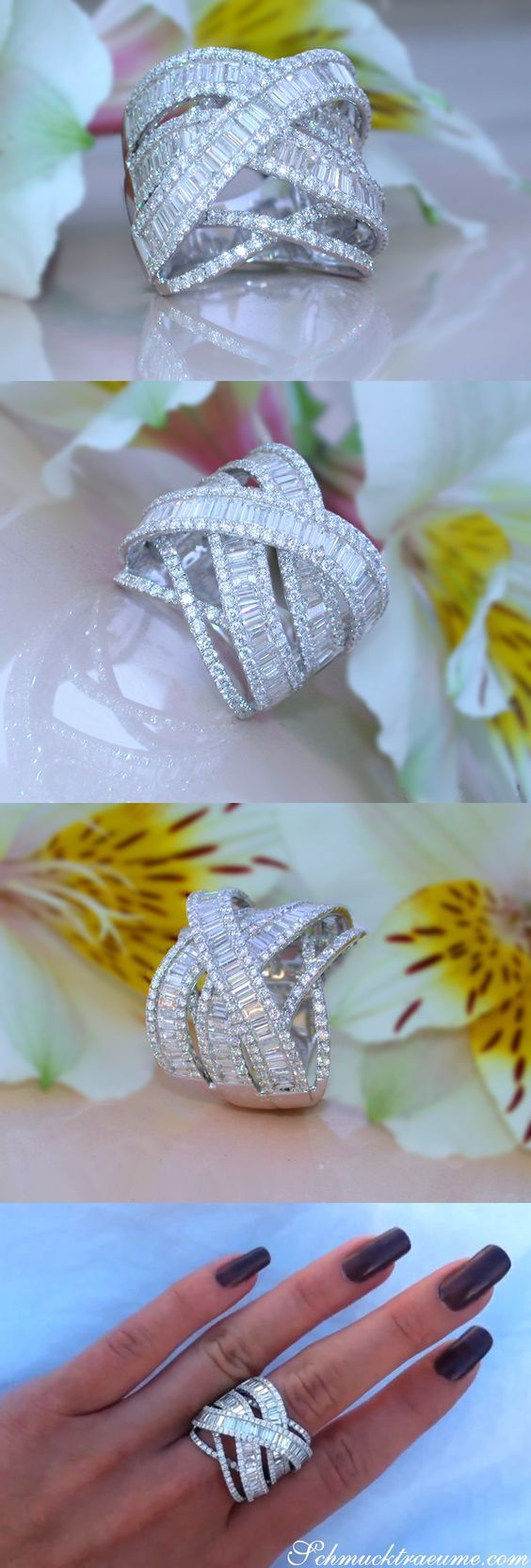 Stunning Crossover Diamond Ring | 4.73 ct. G VS1 | Whitegold 18k – schmucktraeume.com Like: www.facebook.com/…
