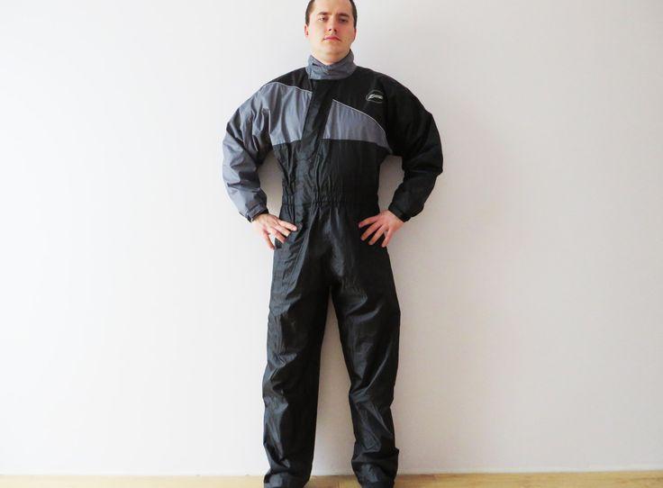 One Piece Suit Black Nylon Romper Black Yachting Suit Men Black Jumpsuit Thin Snowsuit Waterproof Overalls Lightweight Suit XL Large by YourEclecticStreet on Etsy