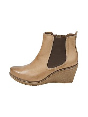 Andrea Conti leren laarsjes sleehak zandkleur beige boots leather sand colour