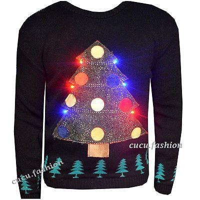 New Unisex Light Up Christmas Jumper Mens Womens Xmas Tree LED Novelty Sweater