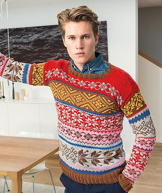 Unisex allover Fair Isle sweater with Nordic designs by Arne & Carlos.