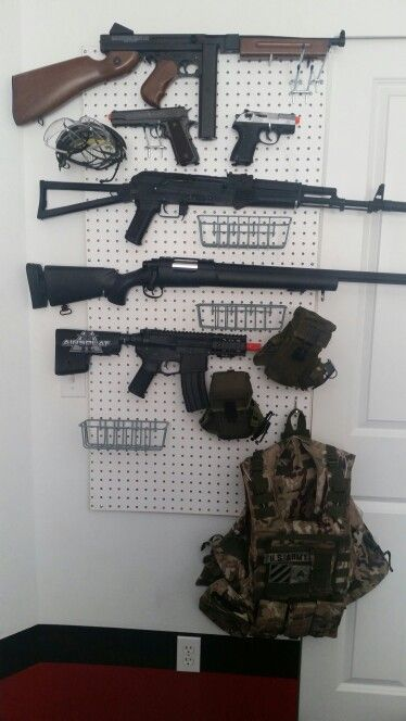 Easy Storage For Airsoft Guns Peg Board And Pegs From