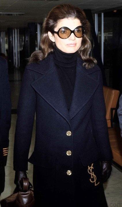 Jackie in YSL coat